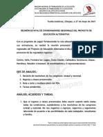ACUERDOS Y TAREAS REUNION DEL PEA