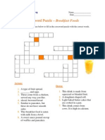 Crossword Puzzle - Breakfast Foods