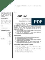 Asif Ali CV