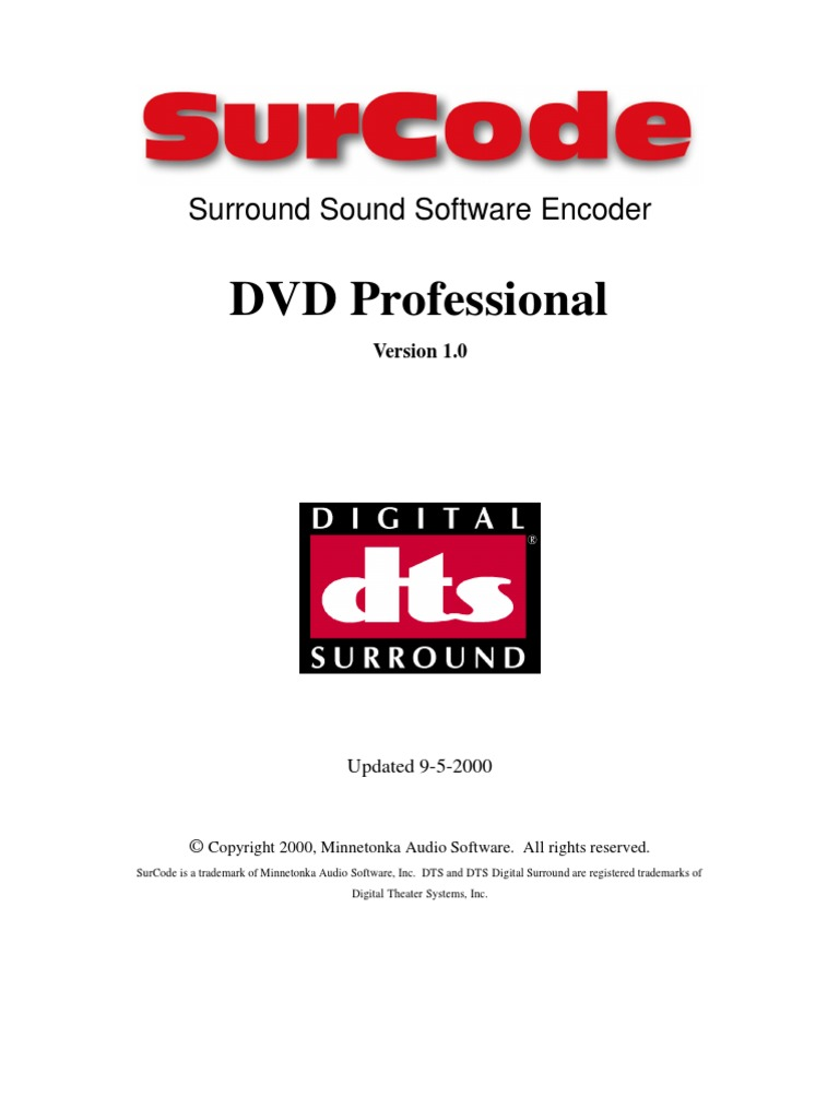 SurCode DTS DVD Pro Manual | Dvd | Compact Disc
