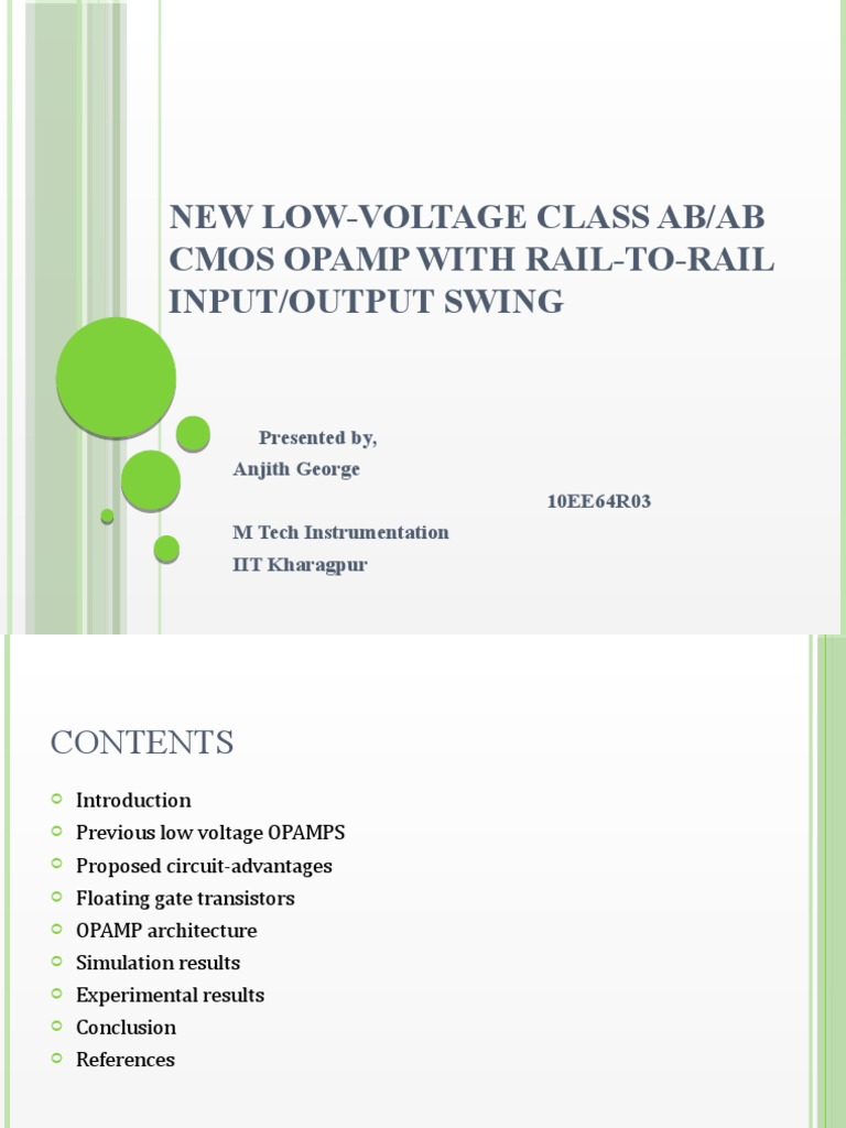 New Low Voltage Class Ab Operational Amplifier Inverting With