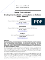 Creating Innovative Mobile Learning Games on the Basis of Quiz Templates
