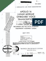 Apollo 16 Lunar Module Onboard Voice Transcription