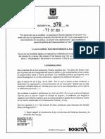 Decreto 379 de 2021 parqueo vía pública Bogotá