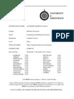 Sample of Object Oriented Software Development Exam (Dec 2010) - UK University BSc Final Year