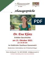 Zeitzeugenabend mit Eva Klotz in Kiens