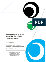 ¿Cómo afectó la Crisis Mundial de 2007-2008 a la Ciudad de Cúcuta?