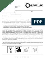 Aperture Science Enrichment Center Volunteer Application Form