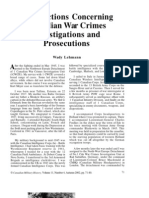 Wady Lehmann - Recollections Concerning Canadian War Crimes Investigations and Prosecutions