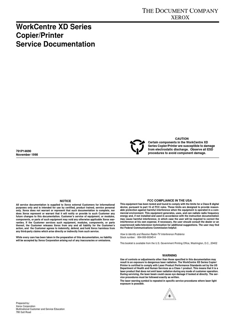 Xerox XD100-102-104 Service Manual | Alternating Current | Electrostatic  Discharge