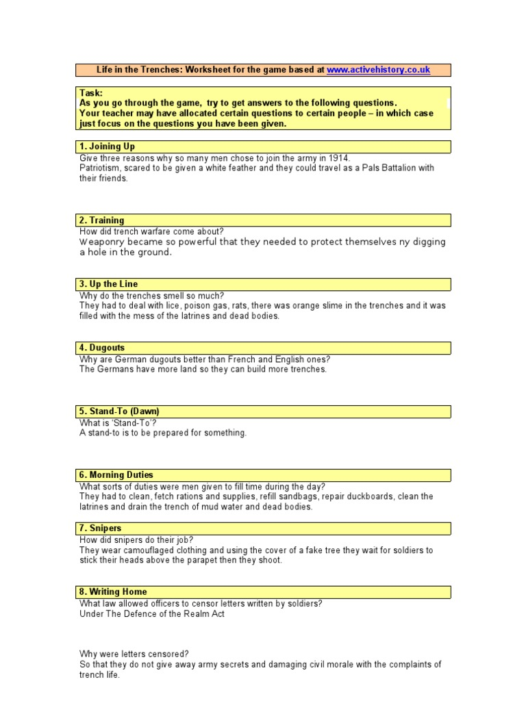 Trench Warfare Worksheets Reviewed by Teachers