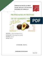 PROPIEDADES NUTRITIVAS DE LA PALTA Completo
