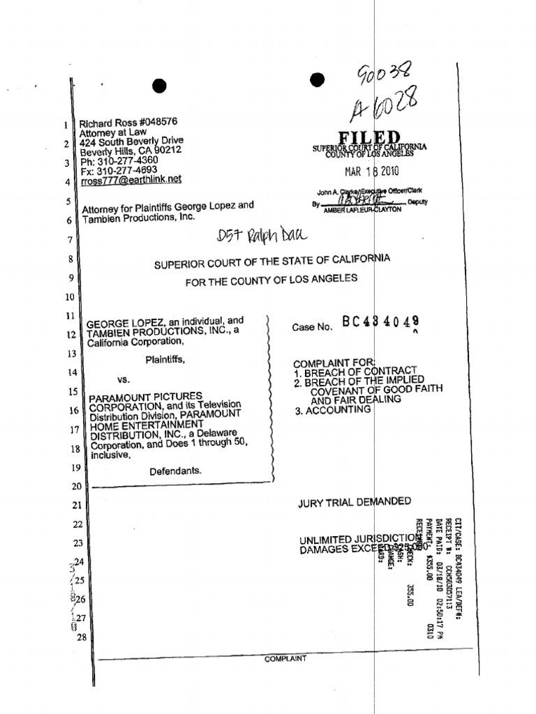 Complaint   Breach Of Contract  Judicial Council Form Complaint