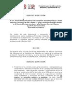 DERECHO DE PETICIÓN (COMPROMISO LEGAL Y PÚBLICO) A CONGRESISTAS COLOMBIANOS