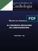 Anais do XI Congresso Brasileiro de cardiogeriatria, 2014
