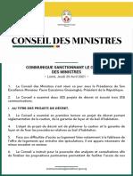 COMMUNIQUE SANCTIONNANT LE CONSEIL DES MINISTRES - Lomé, Jeudi 29 Avril 2021 -