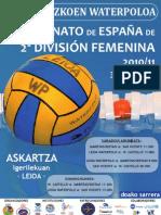 Cartel Campeonato de Espaa de 2 Divisin Femenina -- Leioa 2011