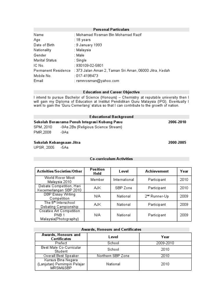 Contoh Resume Terbaik Dalam Bahasa Melayu Elita Mydearest Co