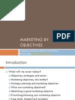 Marketing by Objectives SPX seminar