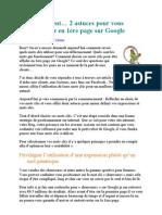 Referencement... 2 astuces pour vous positionner en 1ère page sur Google