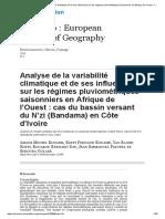 Analyse de la variabilité climatique et de ses influences sur les régimes pluviométriques saisonniers en Afrique de l'Ouest_ cas du bassin versant du N'zi (Bandama) en Côte d'Ivoire