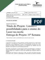 Estudo do lazer projeto prática ciclo 3