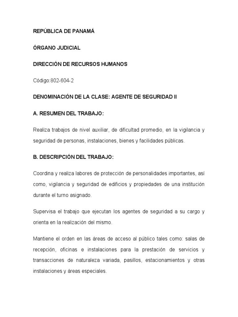 PERFIL DE PUESTO AGENTE DE SEGURIDAD