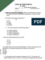 prueba de decimales 4°