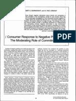 Consumer Response to Negative Publicity