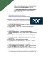 Síntesis del proceso de revisión bibliográfica para proyecto piloto de prevención de violencia en el transporte público