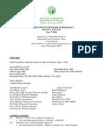 Washington State Board of Pharmacy - Meeting Minutes - 2009-05-07