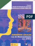 Gobiernos Locales Ley de Municipalidades 27972