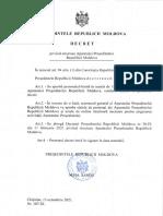 DECRET privind structura Aparatului Presedintelui Republicii Moldova, 15.10.2021