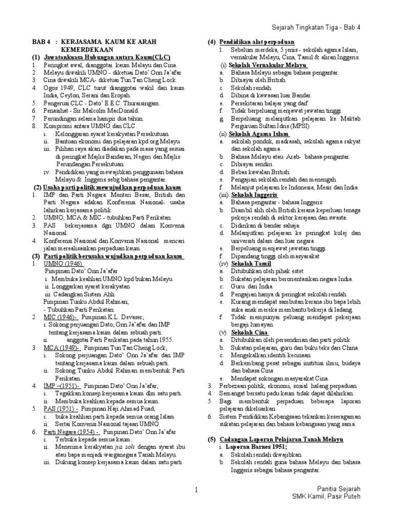 Nota Sejarah Tingkatan 3 Kssm Bab 3