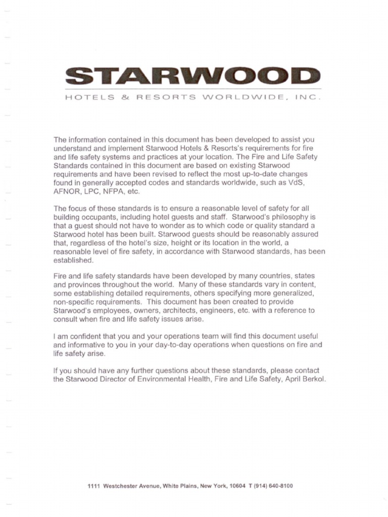 Starwood Hotel - Fire and life safety standard part 1 | Fire Sprinkler  System | Wall