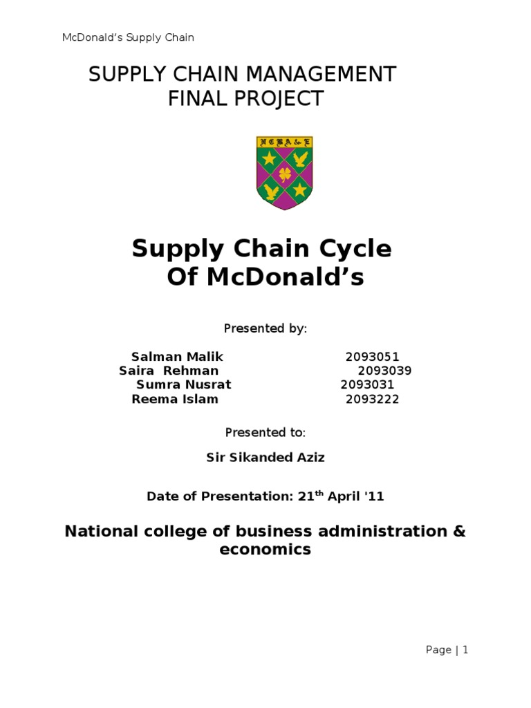 scm project report on mcdonalds marketing essay Free marketing essays home that their impact is limitedthis sentiment echoes a 2003 report by the ukcom/free-essays/marketing/supply-chain-managementphp.