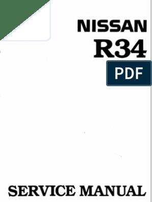 Nissan Skyline R34 Workshop Manual English | Throttle ... on