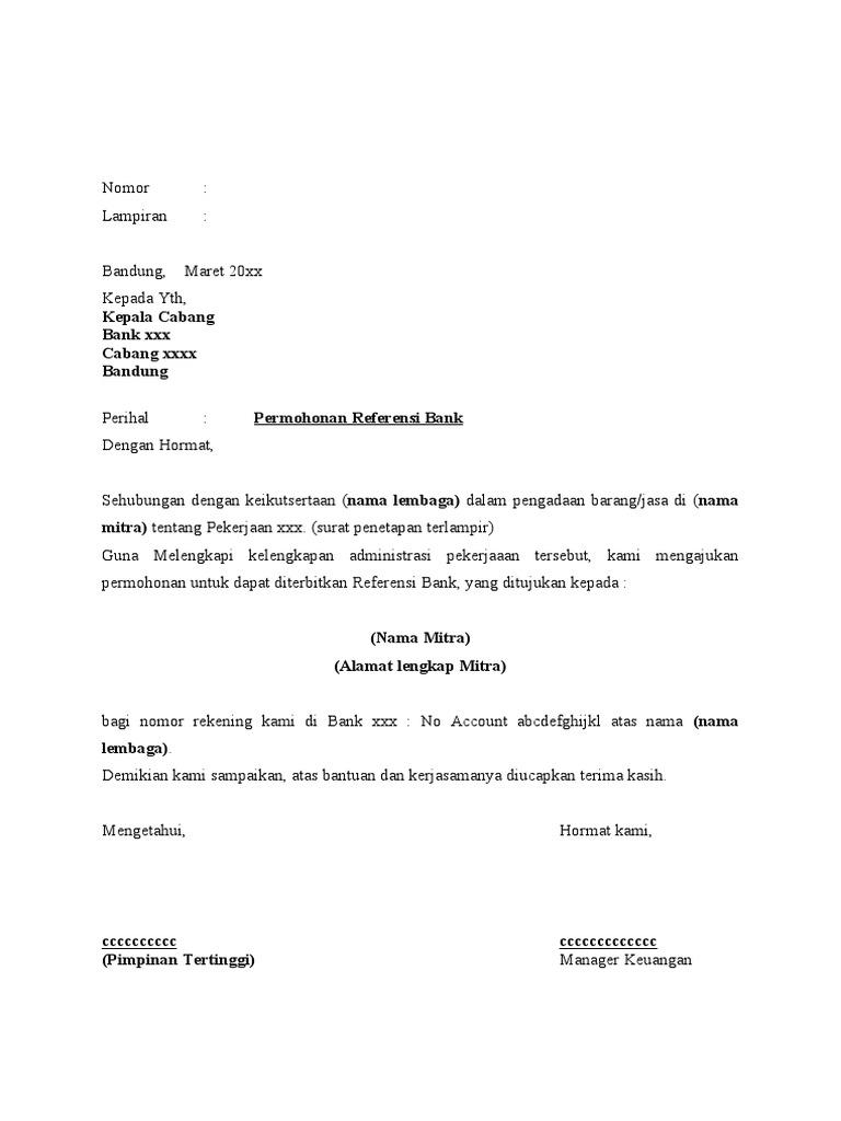 Contoh Surat Referensi Perusahaan Untuk Pembukaan Rekening Contoh Surat