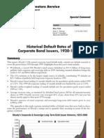 Moodys white paper Corporate Bond Defaults 1920-1999