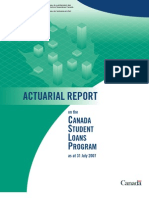 Actuarial Report on the Canada Student Loans Program, 2007
