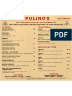Pulino's Breakfast Menu