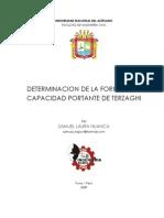 DETERMINACION DE LA FORMULA DE CAPACIDAD PORTANTE DE TERZAGHI