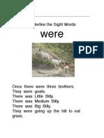 Three Billy Goats Sight Word Set