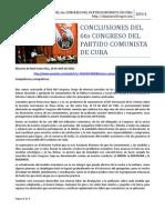 Conclusiones Del 6to Congreso Del Partido Comunista de Cuba