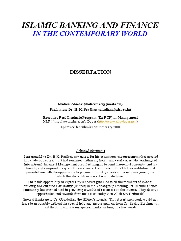 Dissertation on banking risk management