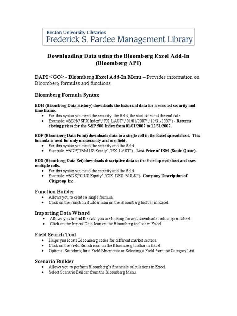 Bloomberg api download