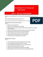TAE40110 RPL Self Assessment