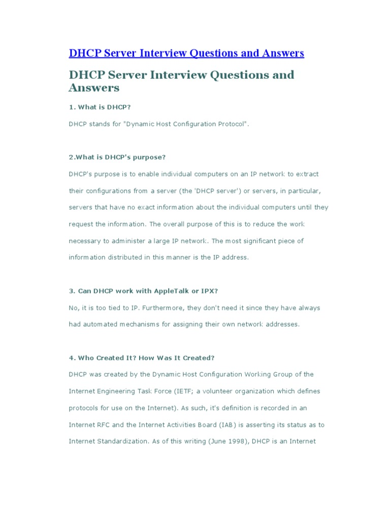 DHCP Server Interview Questions And Answers | Ip Address | Computer Network