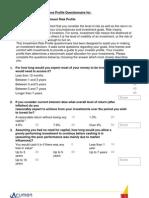 Investment Risk Tolerance Profile Questionnaire