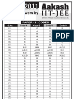 1answer Key and Solution for Iit Jee 2011
